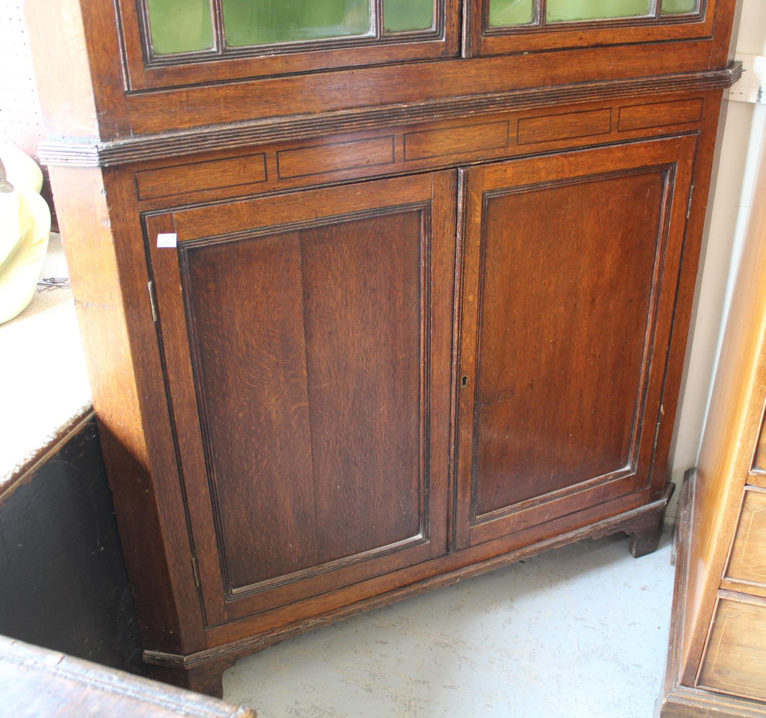 George III oak standing corner cabinet with a moulded cornice above a pair of astragal glazed doors, - Image 3 of 5