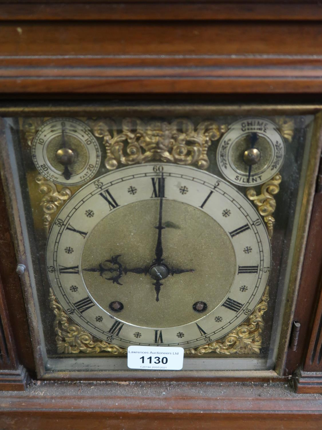 Late 19th Century Continental walnut mantel clock, the gilded and silvered dial with Roman and - Image 2 of 3