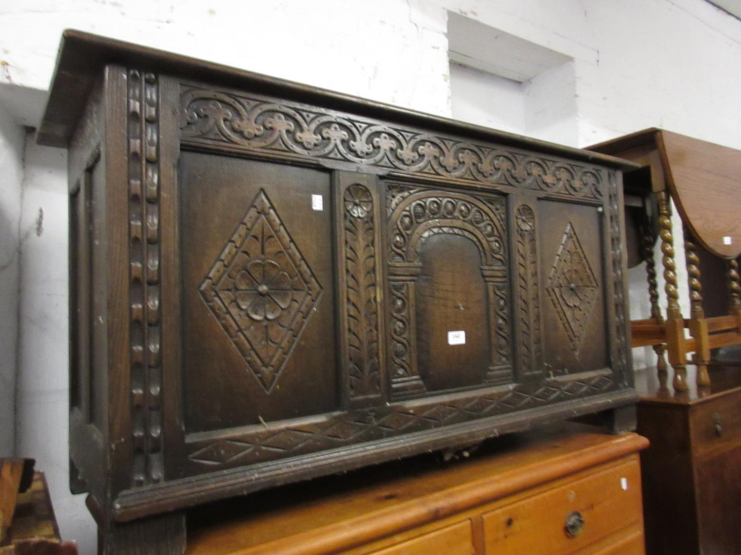 Reproduction carved oak three panel coffer Minor blemishes to the finish otherwise very sound