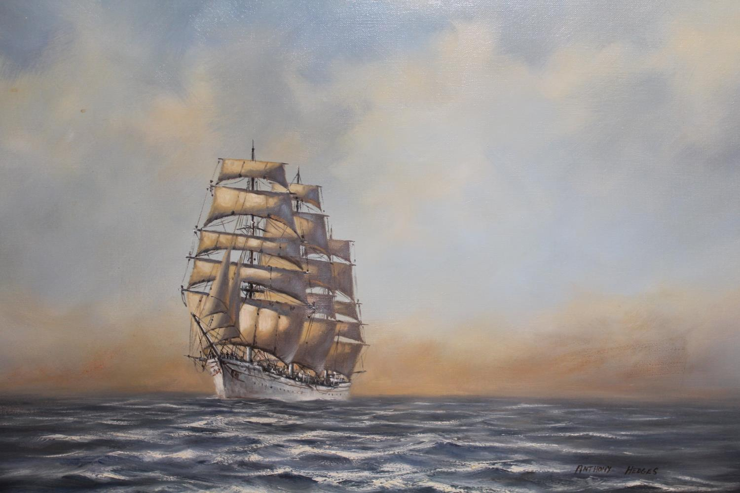 Anthony Hedges, oil on canvas, three masted clipper under full sail at sea, 20ins x 30ins, gilt - Image 2 of 2