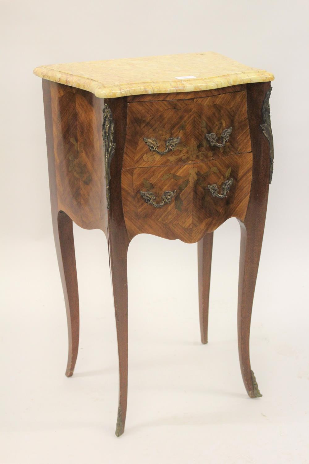 Pair of 20th Century French Kingwood marquetry inlaid and gilt brass mounted serpentine shaped
