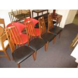 Set of four mid 20th Century Danish teak Eva pattern dining chairs by Koefoeds Hornslet, with