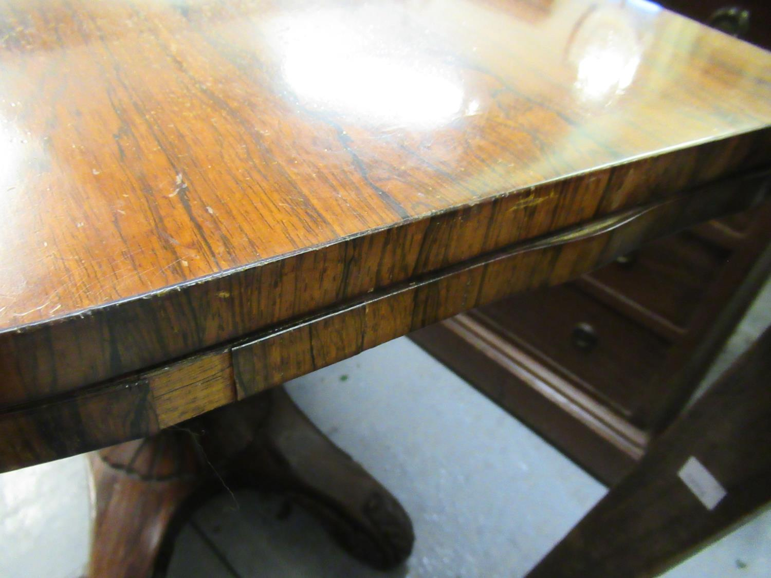 William IV rosewood fold-over card table with tulip carved column support and quadruped base, - Image 7 of 10