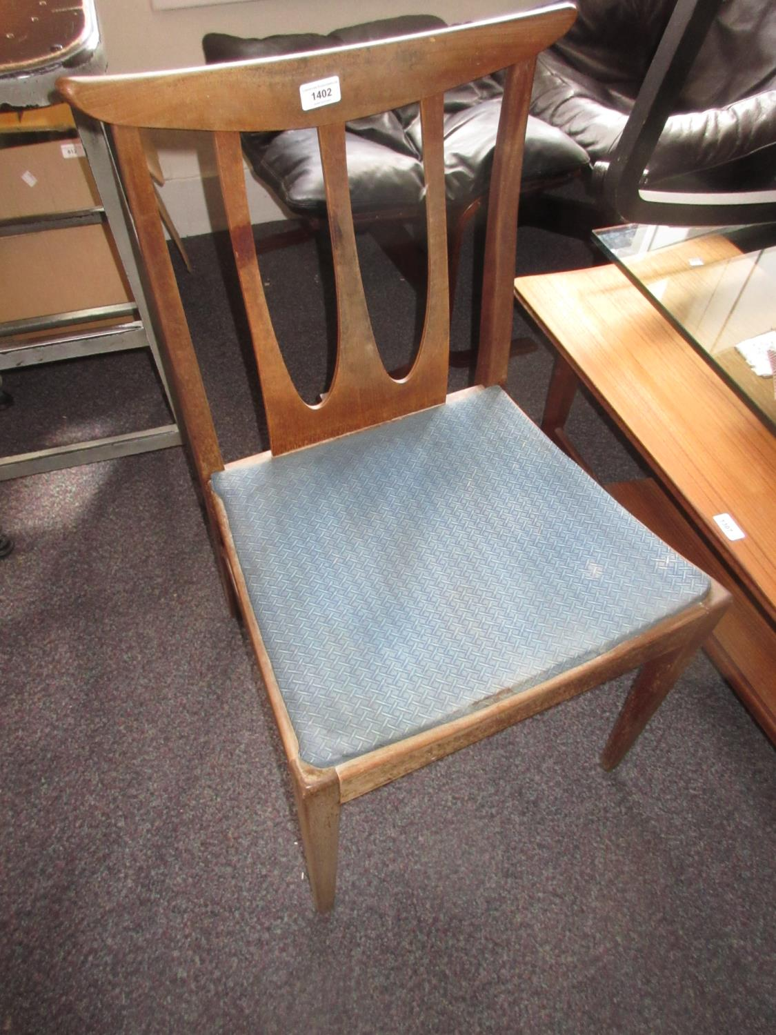 Set of four mid 20th Century G-Plan shaped splat back dining chairs