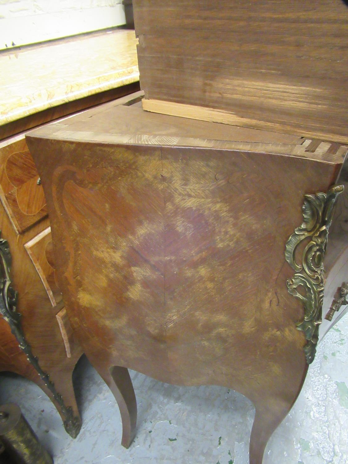 Small 20th Century French Kingwood inlaid and ormolu mounted commode, the rouge marble top above two - Image 12 of 12