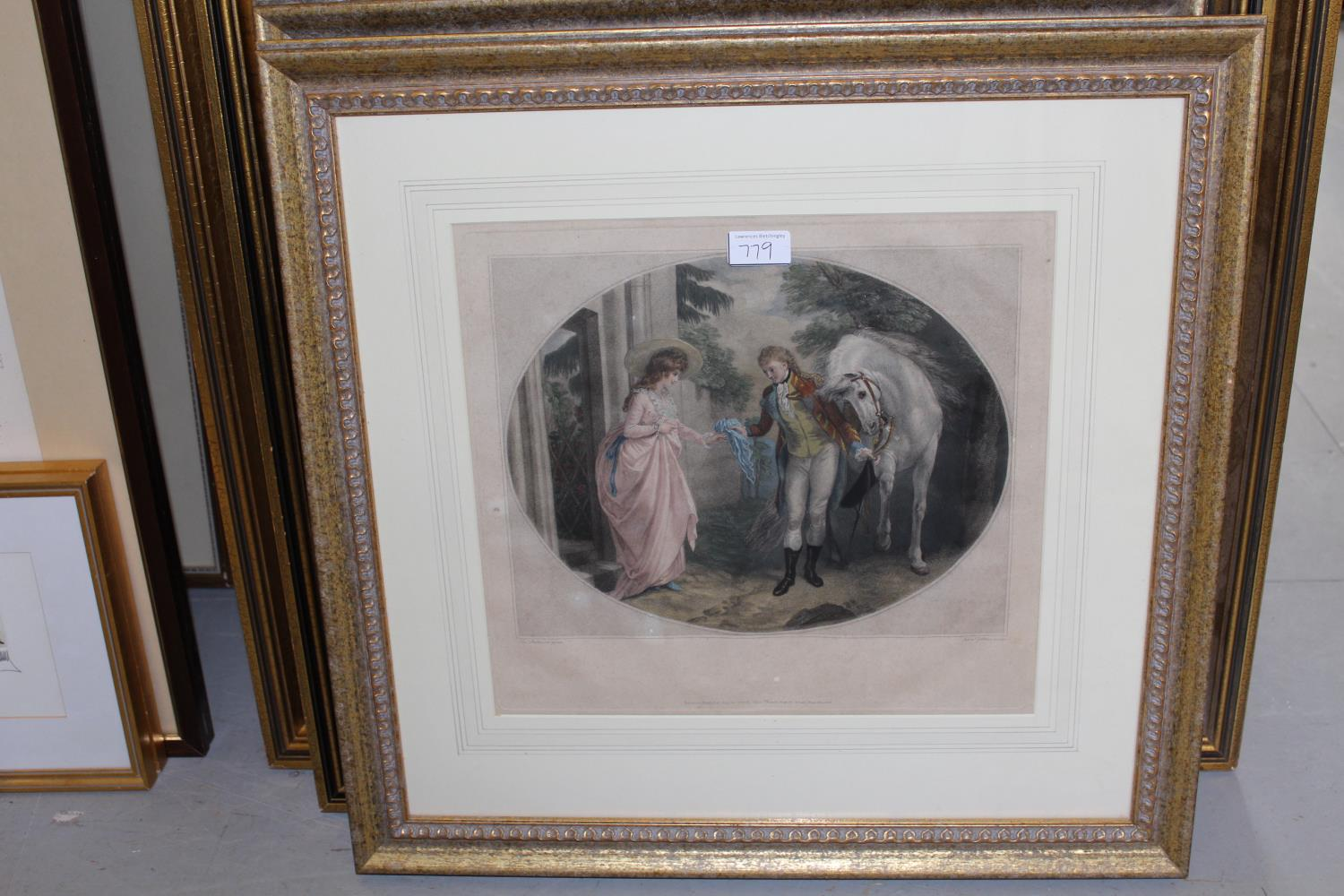 Pair of late 18th Century hand coloured stipple engravings, courtship scenes after Stothard, 12.5ins - Image 2 of 2