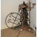 Group of five various iron hanging and standing candle holders
