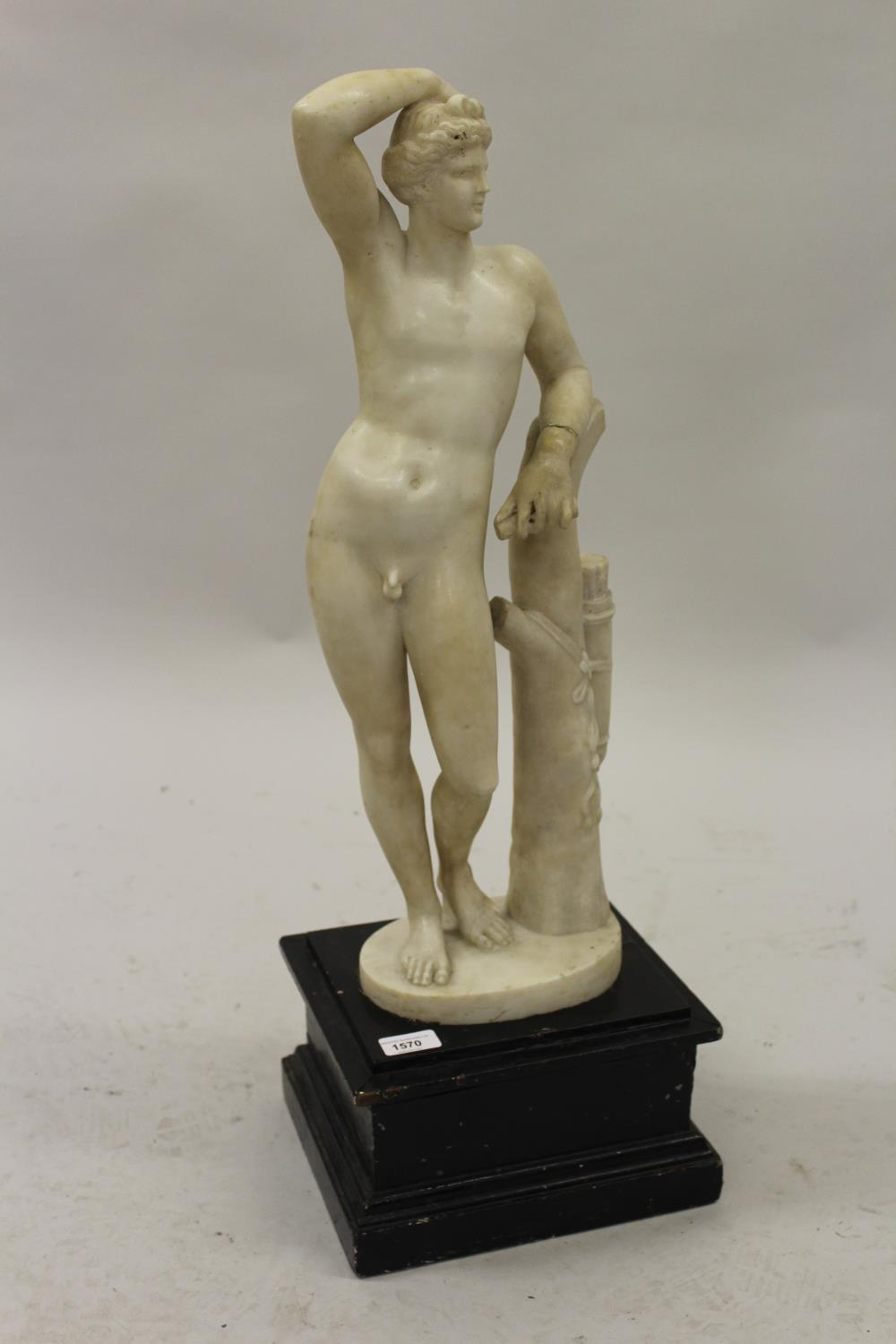 19th Century carved marble figure of Apollo leaning on a tree stump with quiver, 24ins high (