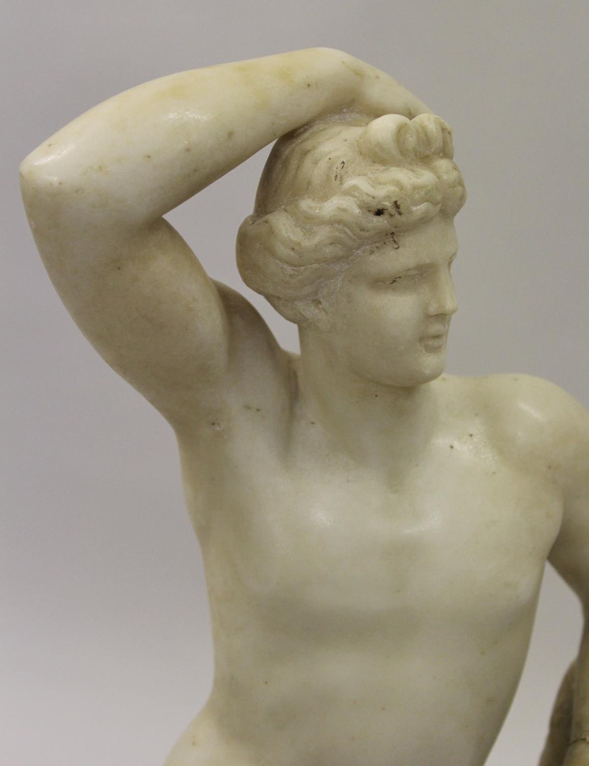 19th Century carved marble figure of Apollo leaning on a tree stump with quiver, 24ins high ( - Image 3 of 16