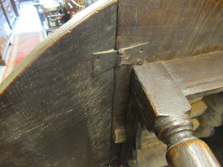 Charles II small oak drop leaf stool / table, circa 1680, the oval hinged top raised on turned - Image 7 of 9