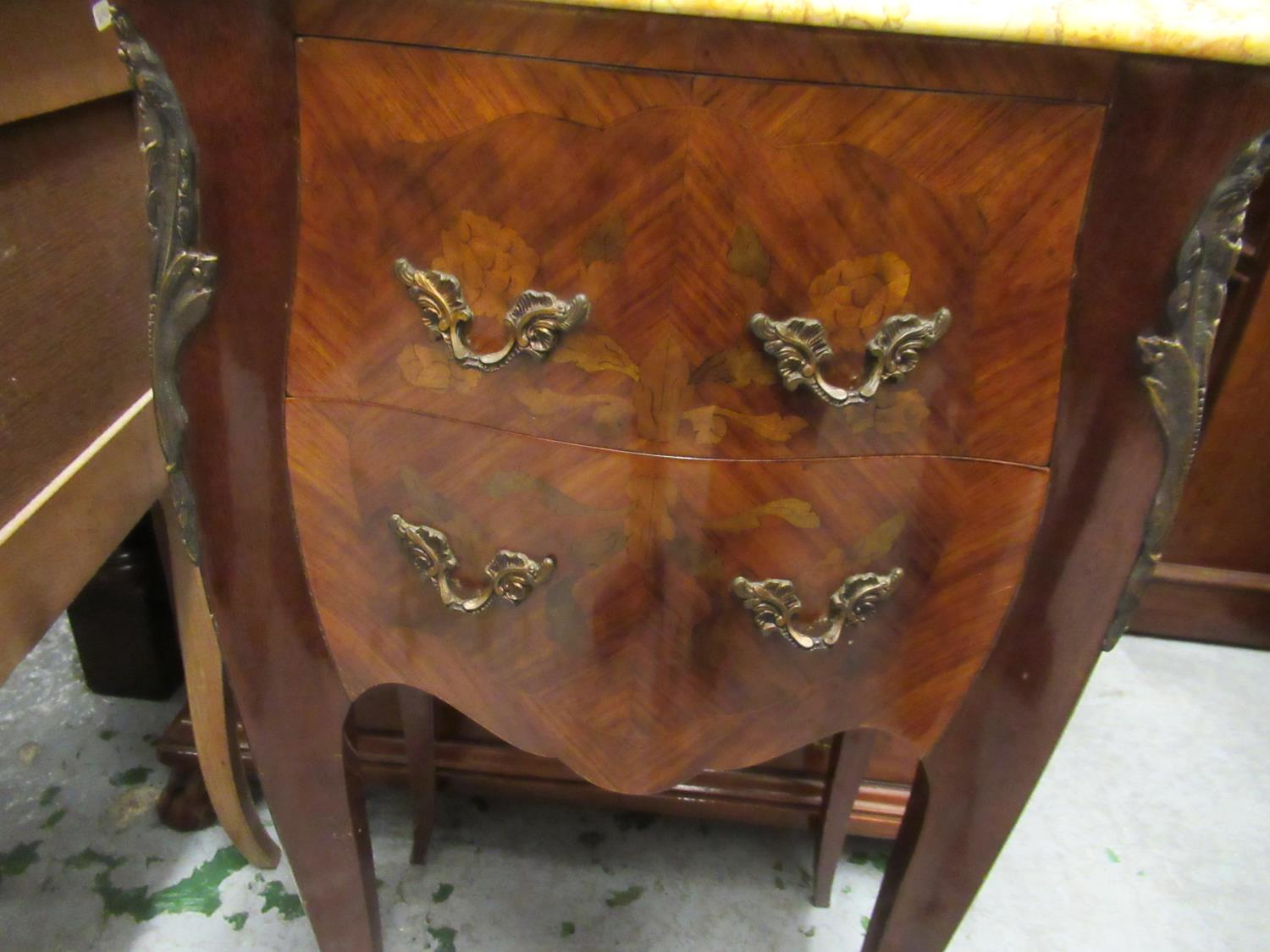Pair of 20th Century French Kingwood marquetry inlaid and gilt brass mounted serpentine shaped - Image 3 of 7