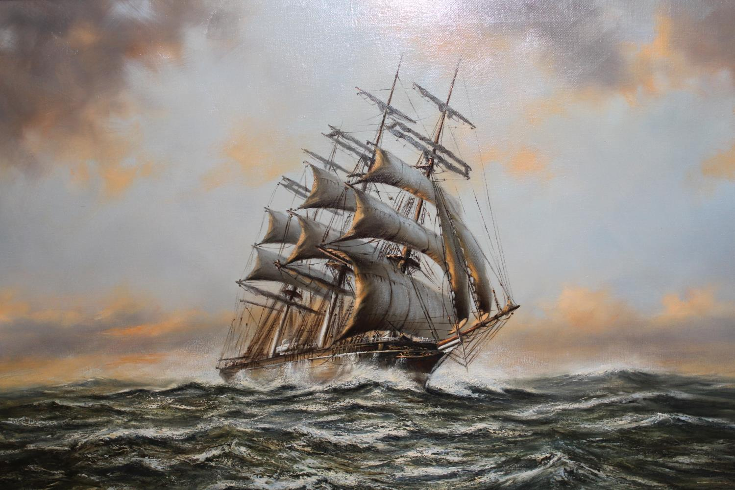 Anthony Hedges, oil on canvas, three masted clipper at sea, signed, 24ins x 36ins, gilt framed - Image 2 of 2