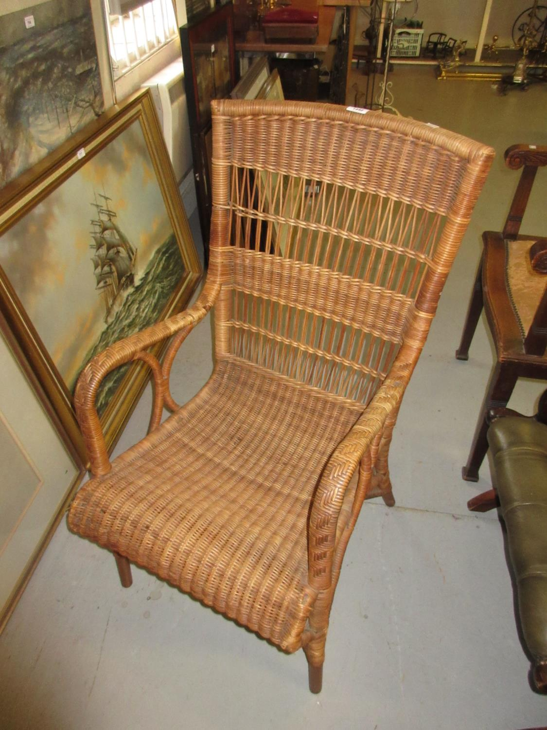 Wicker arm chair by Dryad of Leicester, with original label to the seat frame