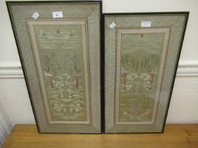 Two Chinese silkwork sleeve type panels of birds and buildings in landscapes, framed, each 9ins x