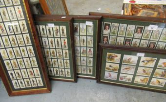 Group of five framed sets of cigarette cards including Wills, Cricketers and John Player -