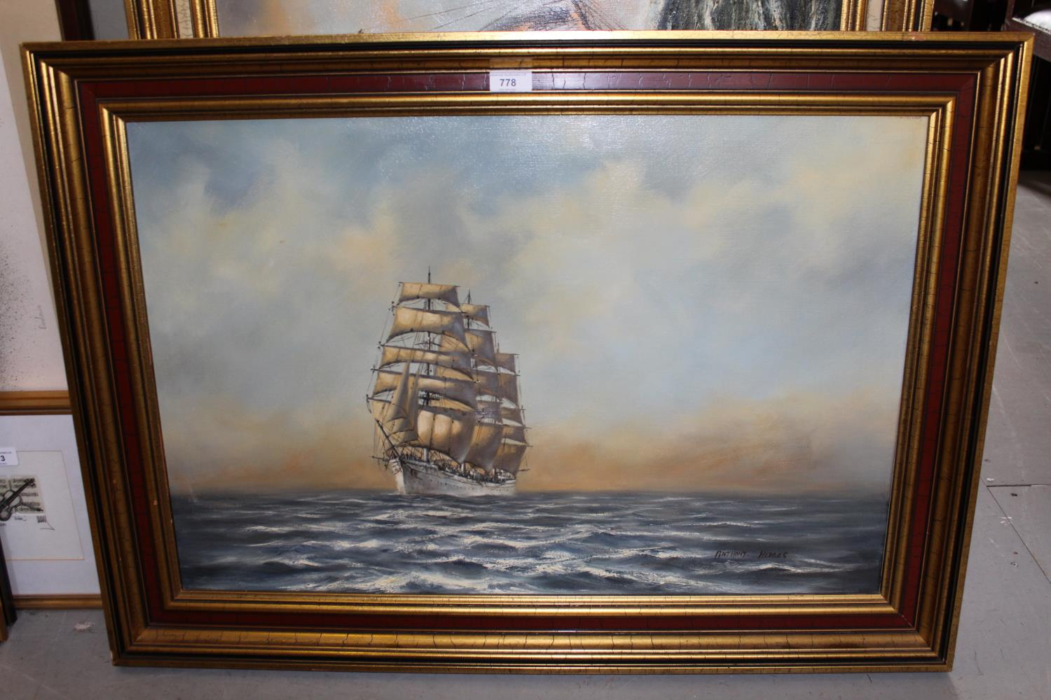 Anthony Hedges, oil on canvas, three masted clipper at sea, signed, 24ins x 36ins, gilt framed