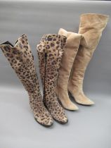 Pair of Russell & Bromley leopard print suede ladies knee high boots, 1in block heels, size 38.5