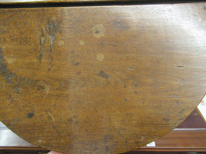 Charles II small oak drop leaf stool / table, circa 1680, the oval hinged top raised on turned - Image 5 of 9