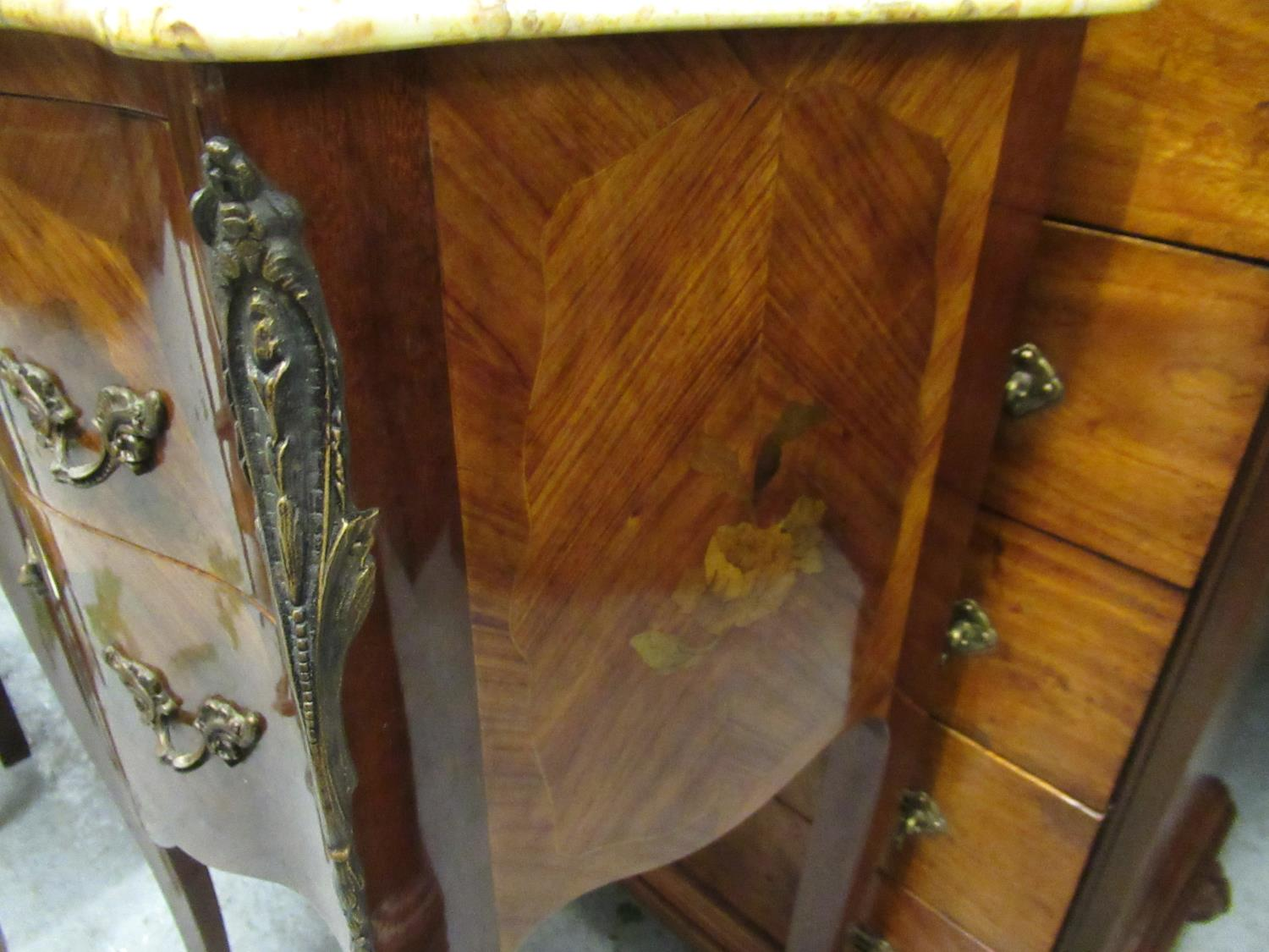 Pair of 20th Century French Kingwood marquetry inlaid and gilt brass mounted serpentine shaped - Image 4 of 7