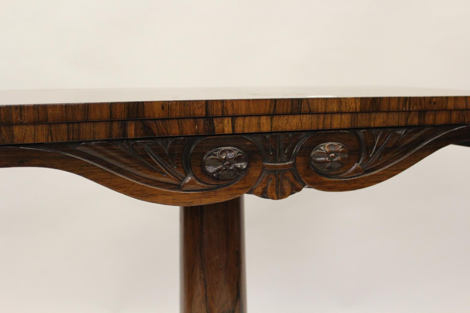 William IV rosewood fold-over card table with tulip carved column support and quadruped base, - Image 3 of 10