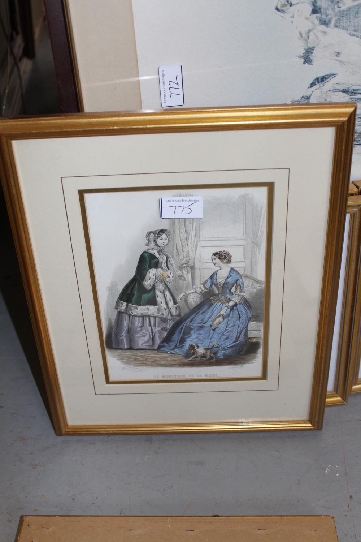 Framed coloured stipple engraving, portrait of Jenny Lind together with three framed fashion - Image 5 of 7