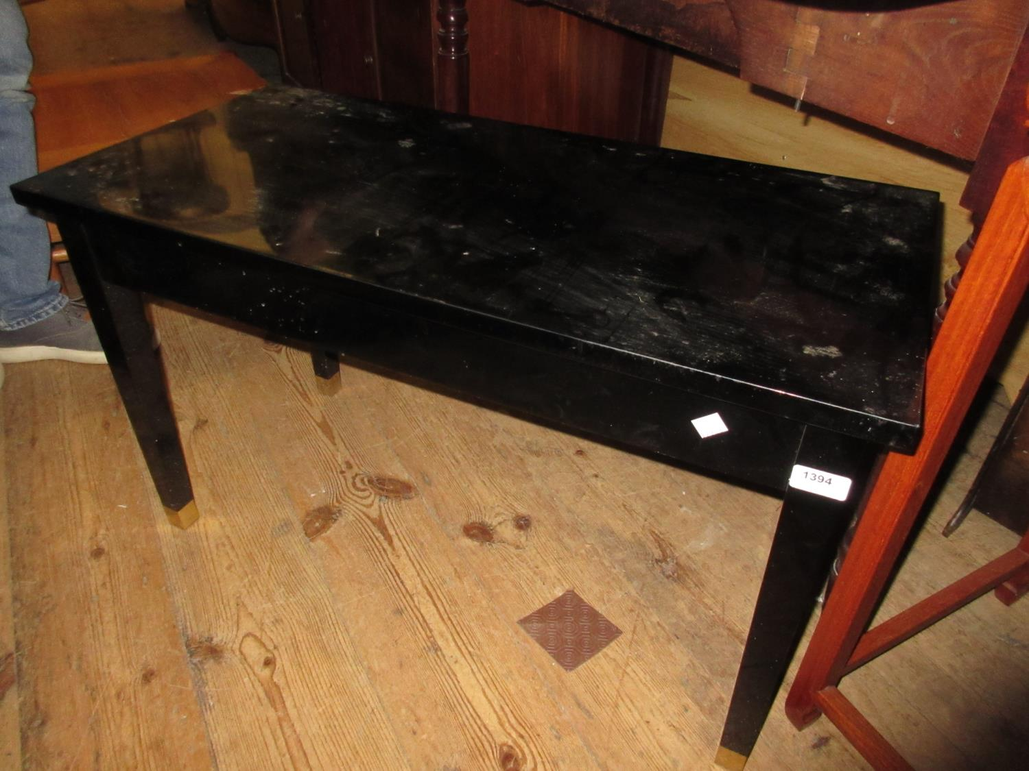 Modern ebonised boxseat duet piano stool and a mahogany four drawer music cabinet
