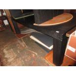 Good quality modern dark brown dining table of plain design measures 220cm long x 110cm deep,