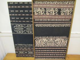 Two Indonesian textile panels mounted (one framed), 31ins x 17.5ins