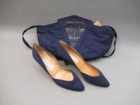 Olivenzo Battaglia for Baldinini, navy blue Grosgrain shoulder bag with detachable strap, together