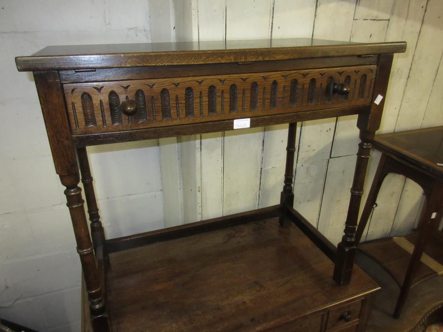 Small mid 20th Century oak draw-leaf dining table, a set of six (four plus two) ladderback dining - Image 2 of 4
