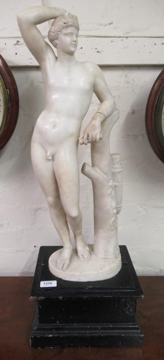19th Century carved marble figure of Apollo leaning on a tree stump with quiver, 24ins high ( - Image 6 of 16