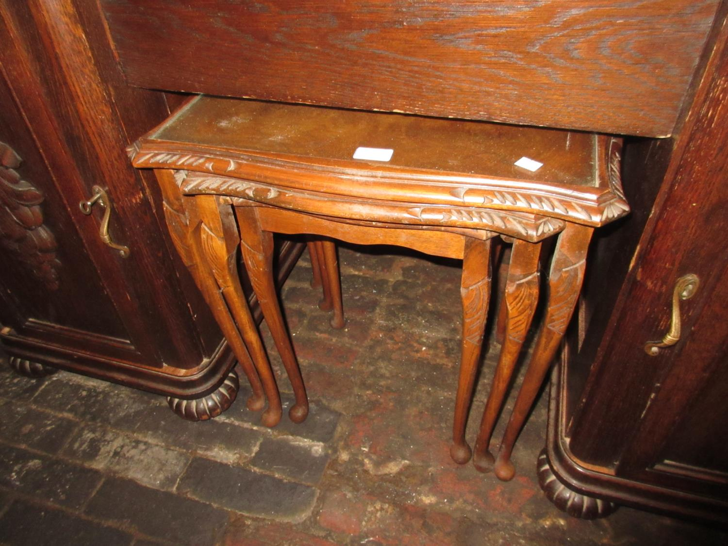 Pair of reproduction oak bedside cabinets with moulded panel doors and canted corners, together with - Image 2 of 2