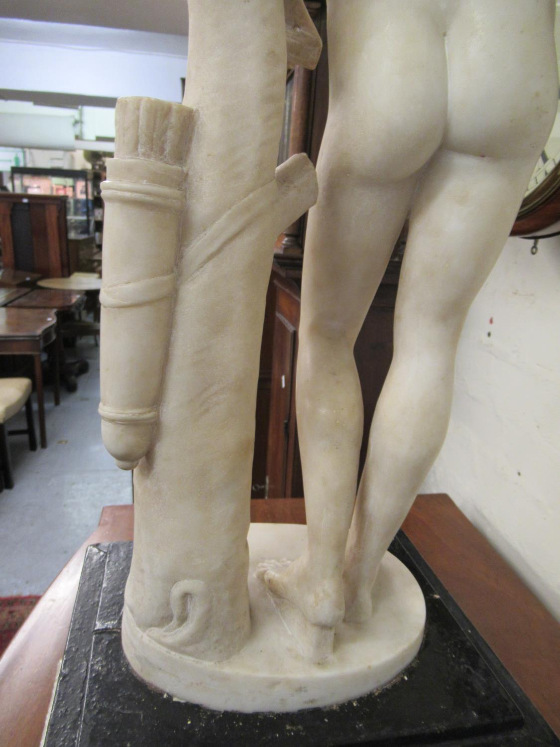 19th Century carved marble figure of Apollo leaning on a tree stump with quiver, 24ins high ( - Image 12 of 16