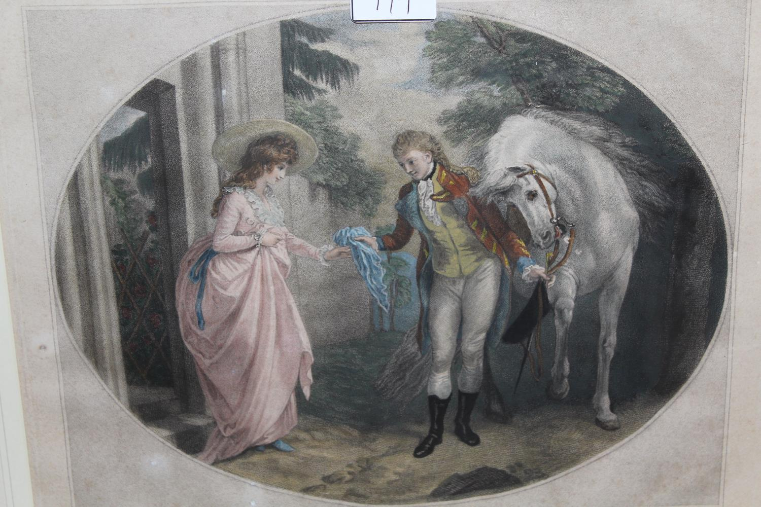 Pair of late 18th Century hand coloured stipple engravings, courtship scenes after Stothard, 12.5ins