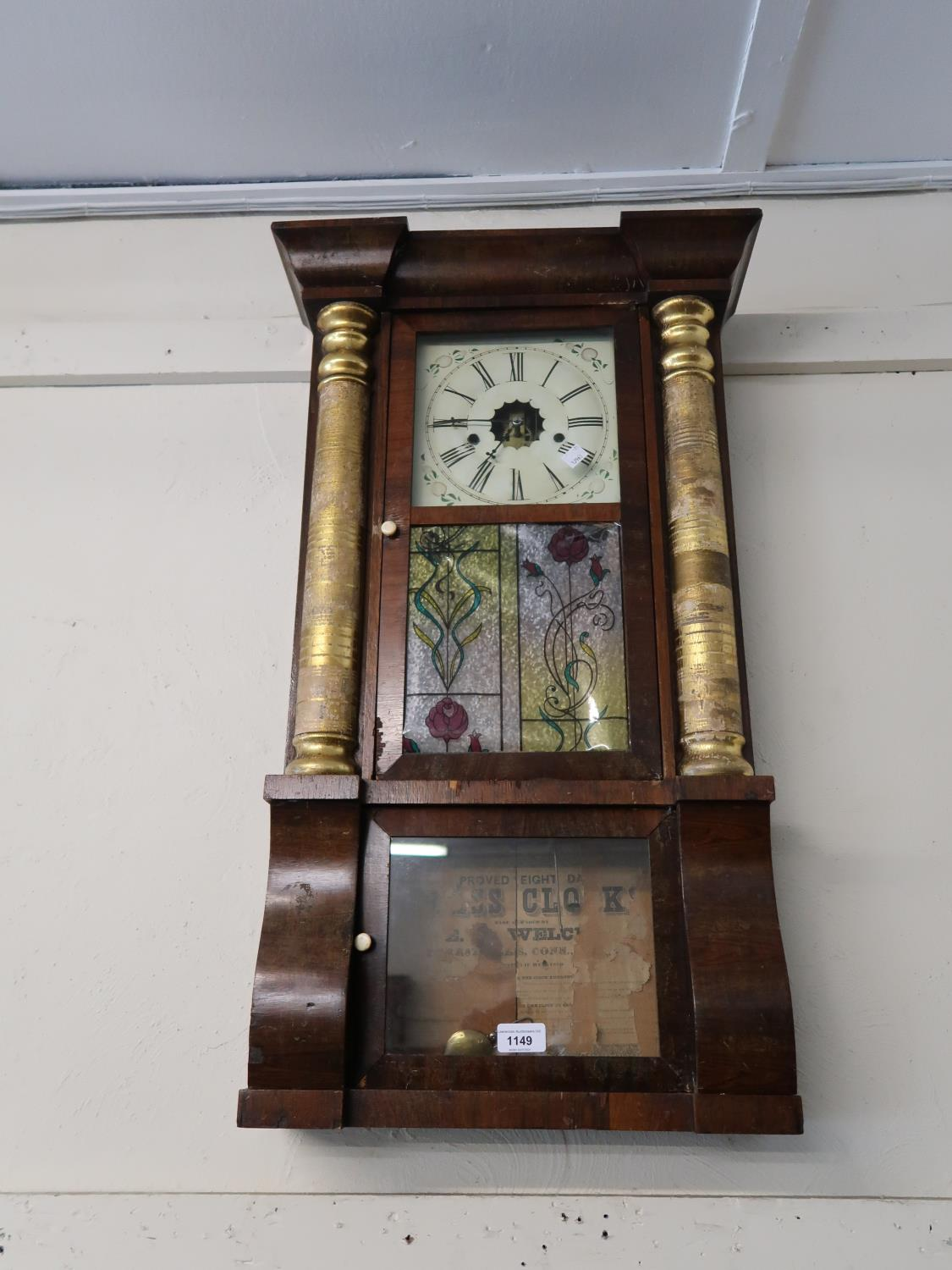 19th Century American rosewood and parcel gilt rectangular wall clock with painted dial and Roman