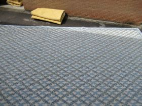 Very large modern Chinese machine woven carpet with an all-over blue floral lattice design on an