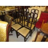 Set of eight (six plus two) Edwardian mahogany dining room chairs with carved splat backs, drop-in