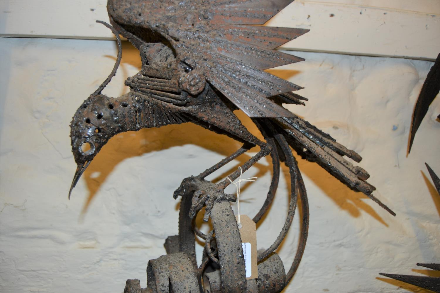 Walenty Pytel (Polish born 1941), welded industrial steel sculpture of an exotic bird on a scroll - Image 3 of 3