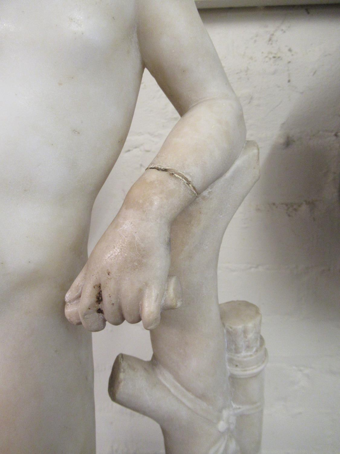 19th Century carved marble figure of Apollo leaning on a tree stump with quiver, 24ins high ( - Image 7 of 16