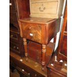 Small 19th Century Continental mahogany rectangular drop leaf work table with cupboard, drawer and