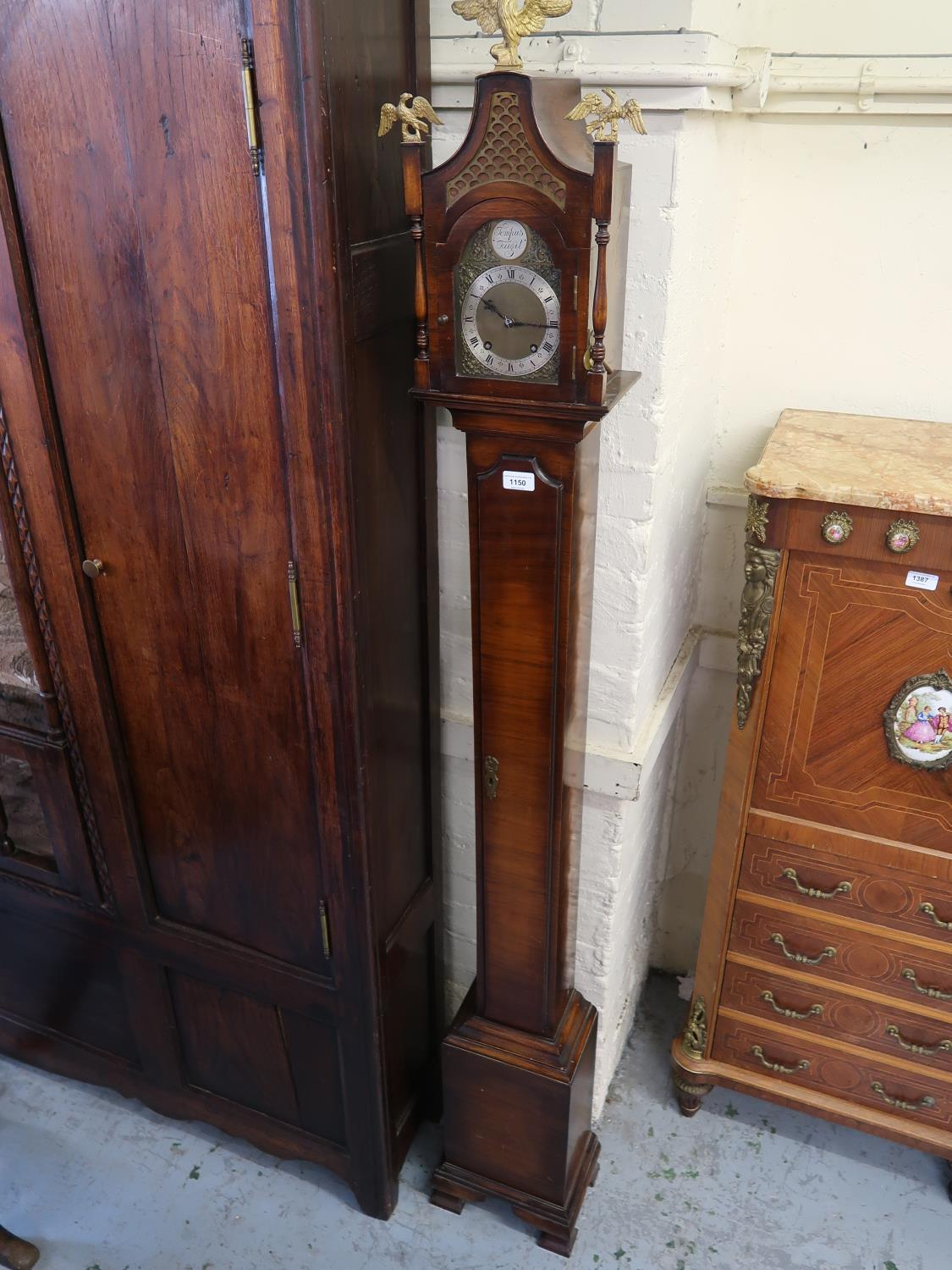 Unusual mid 20th Century walnut longcase clock of narrow proportions in 18th Century style, the