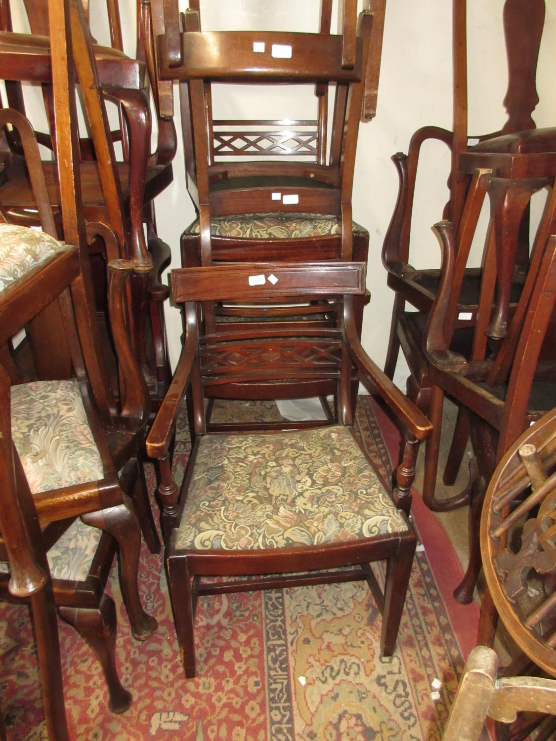 Set of six (four plus two) 20th Century mahogany rail back dining chairs having drop-in seats and
