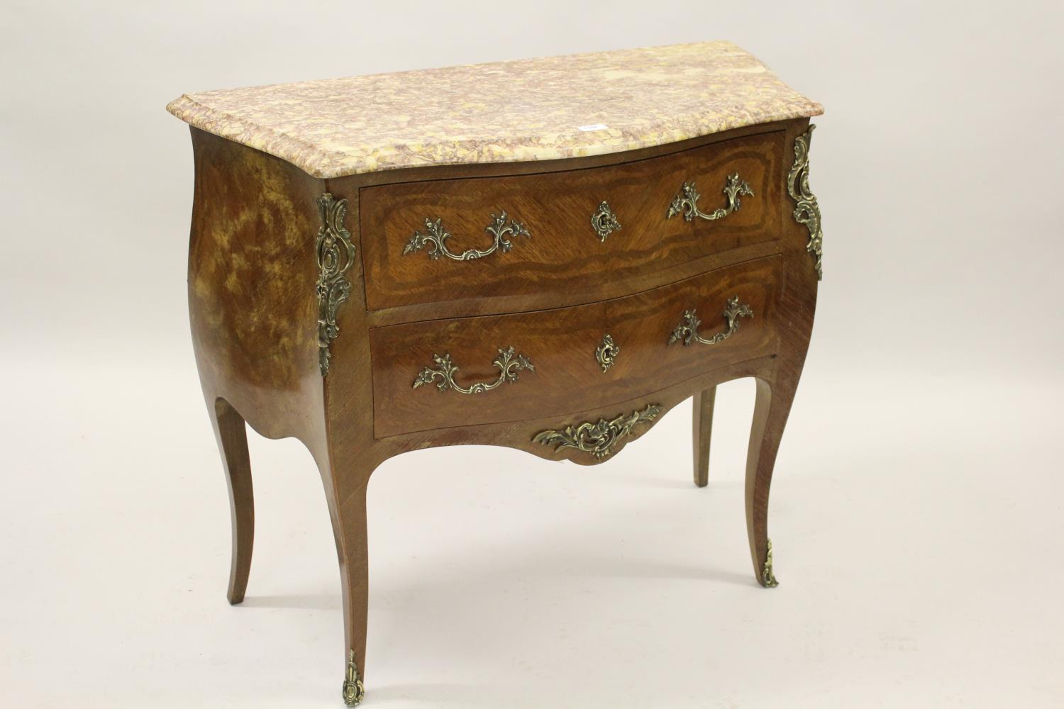 Small 20th Century French Kingwood inlaid and ormolu mounted commode, the rouge marble top above two