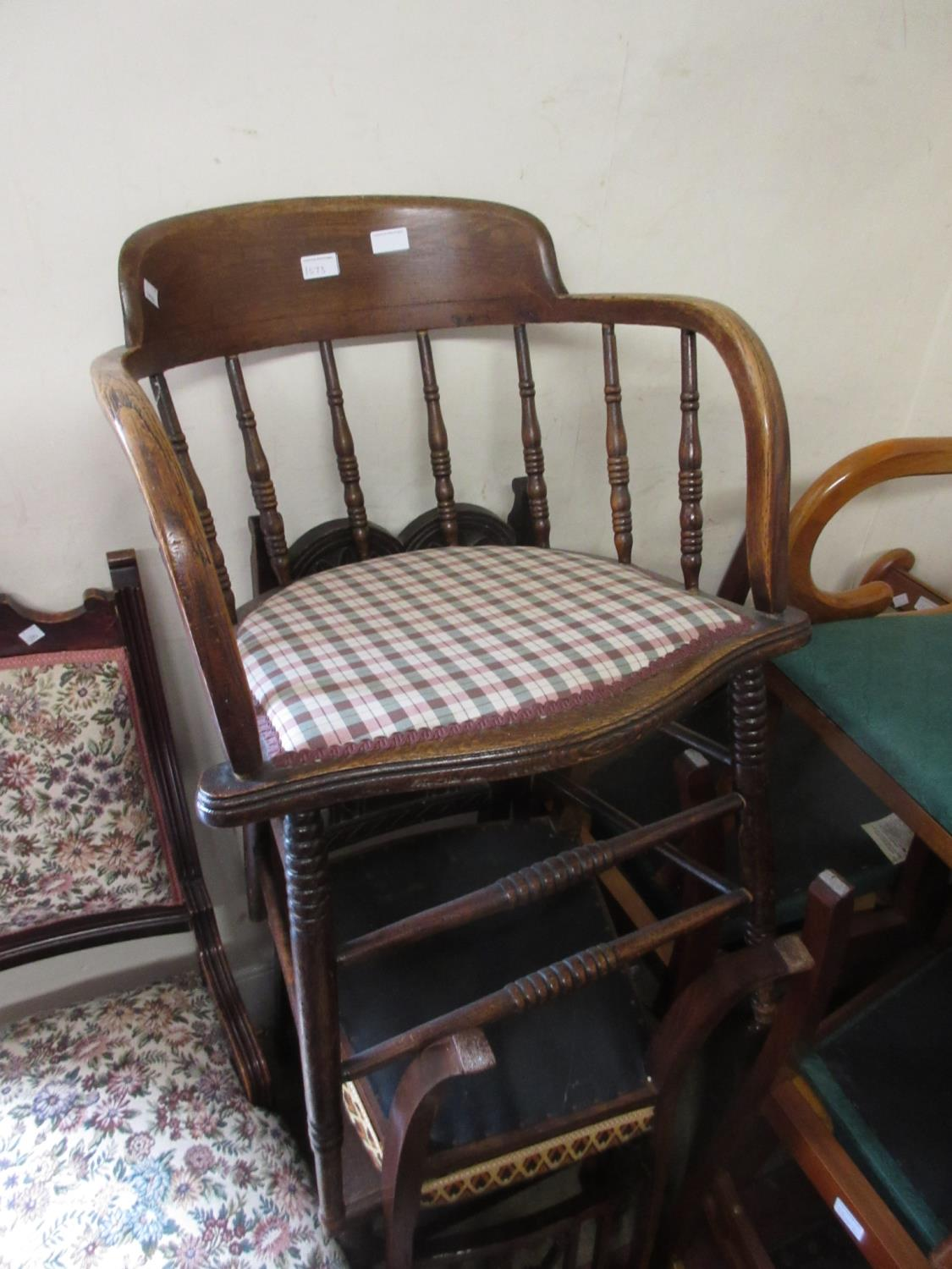 Edwardian mahogany and inlaid side chair with carved splat back together with an oak smoker's bow - Image 2 of 2