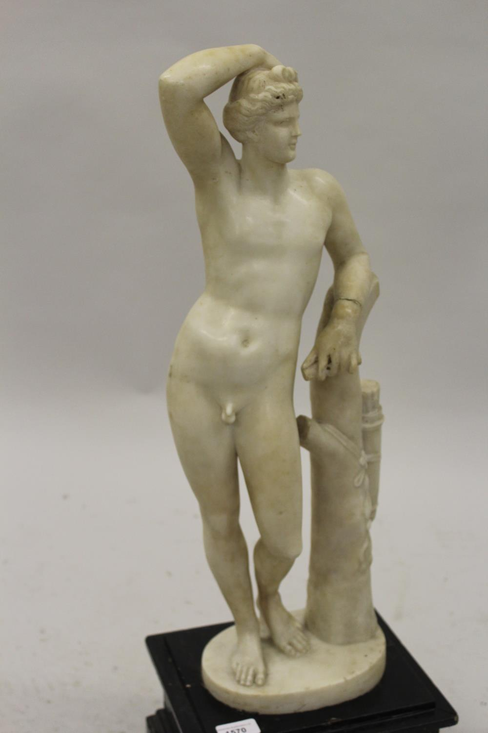 19th Century carved marble figure of Apollo leaning on a tree stump with quiver, 24ins high ( - Image 2 of 16
