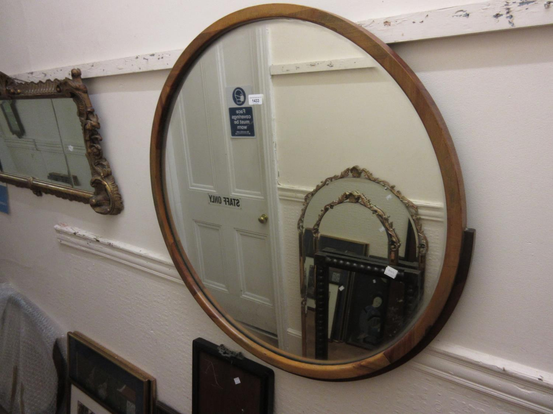 Art Deco circular walnut framed wall mirror, 33ins diameter Good condition with no damages. Slight