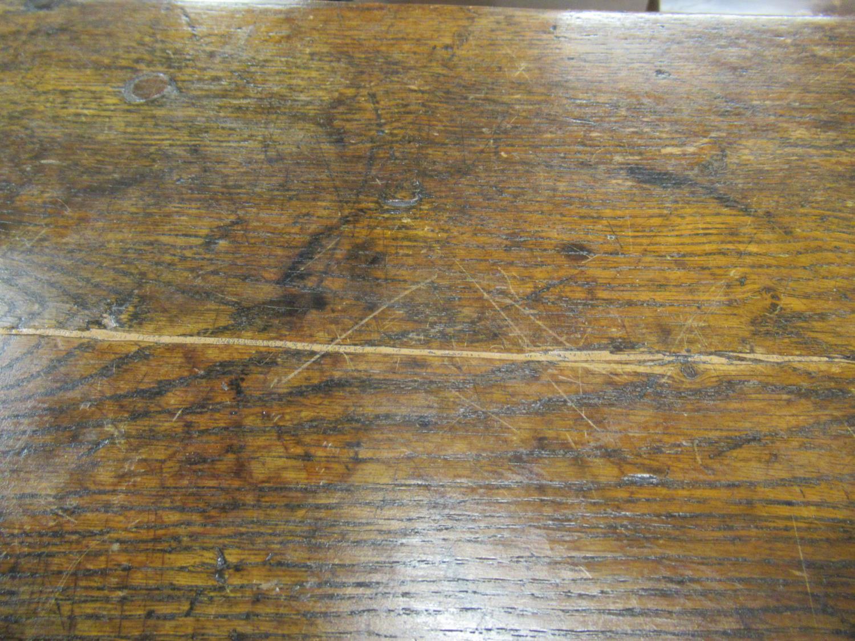 Charles II small oak drop leaf stool / table, circa 1680, the oval hinged top raised on turned - Image 3 of 9