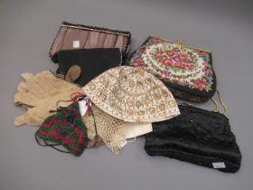 Small quantity of ladies evening bags, gloves etc.