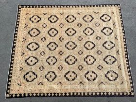 Good quality modern Afghan Ziegler carpet with an all-over floral design on a beige ground with