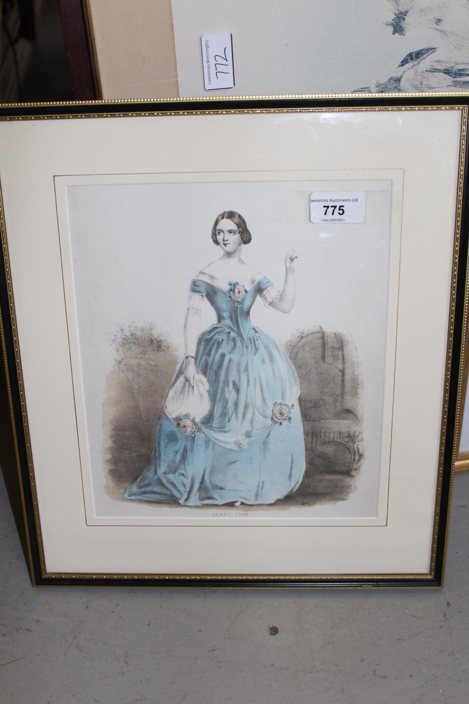 Framed coloured stipple engraving, portrait of Jenny Lind together with three framed fashion - Image 3 of 7